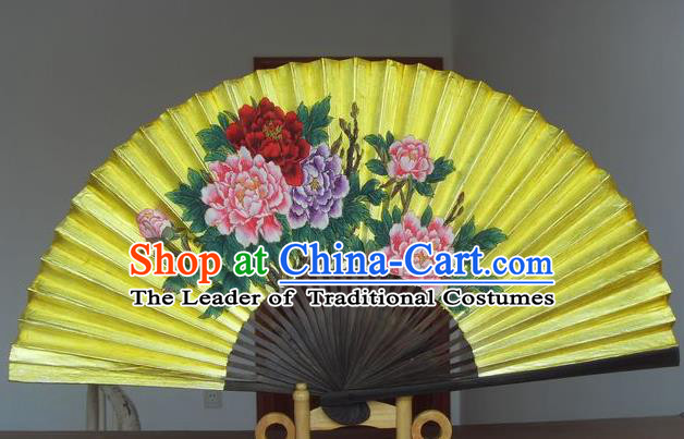 Traditional Chinese Crafts Peking Opera Folding Fan China Sensu Handmade Double Side Golden Paint Xuan Paper Fan