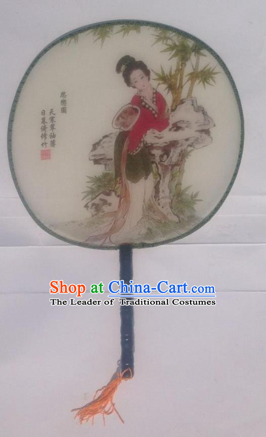 Traditional Chinese Crafts Ancient Palace Lady Dance Round Silk Fan, China Hand Painting Beauty Imperial Concubine Hanfu Circular Fan for Women