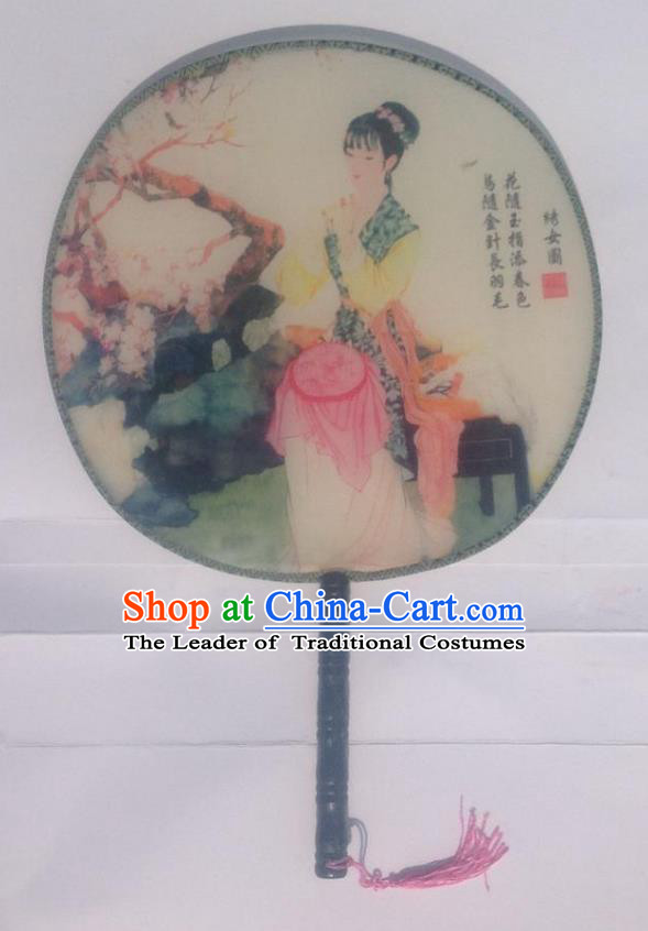 Traditional Chinese Crafts Ancient Palace Lady Dance Round Silk Fan, China Hand Painting Embroidered Beauty Imperial Concubine Hanfu Circular Fan for Women