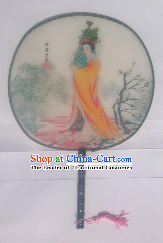 Traditional Chinese Crafts Ancient Palace Lady Dance Round Silk Fan, China Hand Painting Beauty Zhaojun Imperial Concubine Hanfu Circular Fan for Women