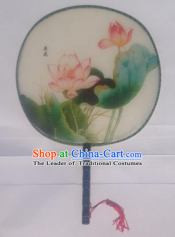 Traditional Chinese Crafts Ancient Palace Lady Dance Round Silk Fan, China Hand Painting Lotus Imperial Concubine Hanfu Circular Fan for Women