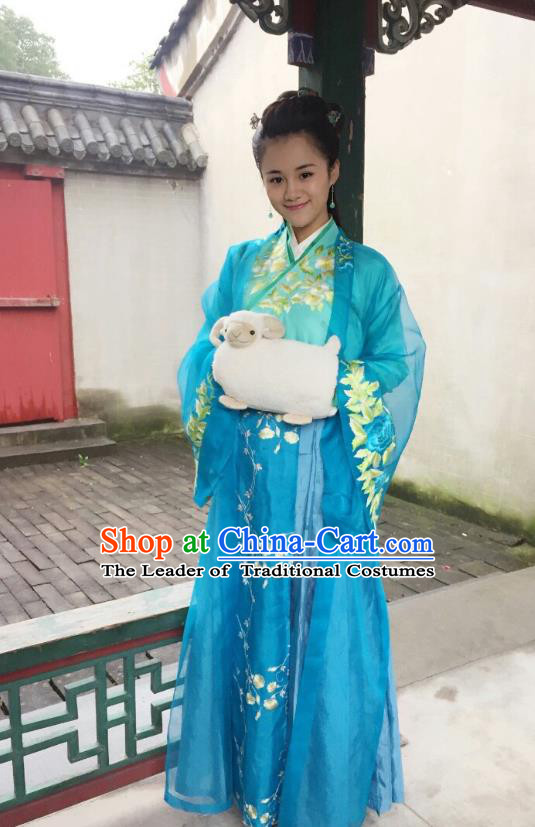 Traditional Chinese Ming Dynasty Princess Fairy Embroidery Costume and Headpiece Complete Set, Chinese Palace Lady Hanfu Dress for Women