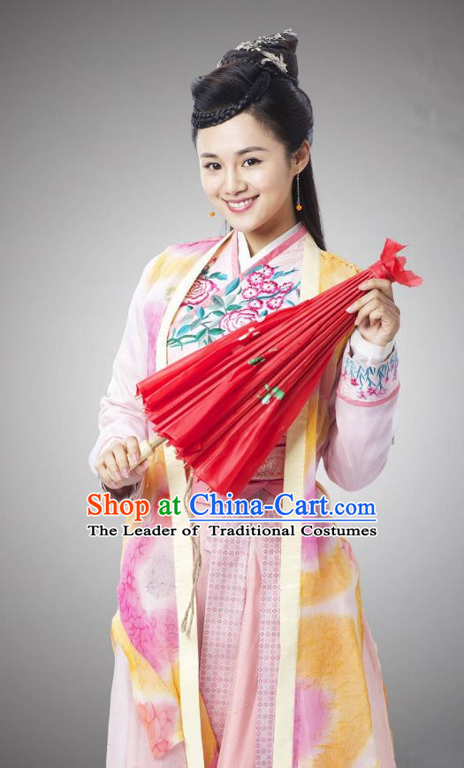 Traditional Chinese Handmade Ming Dynasty Young Lady Embroidery Costume and Headpiece Complete Set, Chinese Swordswoman Hanfu Dress