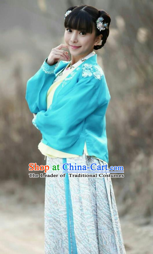 Traditional Chinese Handmade Ming Dynasty Palace Lady Embroidery Costume and Headpiece Complete Set, Chinese Ancient Nobility Lady Hanfu Dress