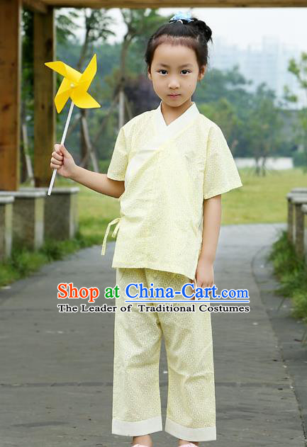 Traditional Chinese Han Dynasty Children Hanfu Kungfu Costume, China Ancient Martial Arts Yellow Clothing for Kids