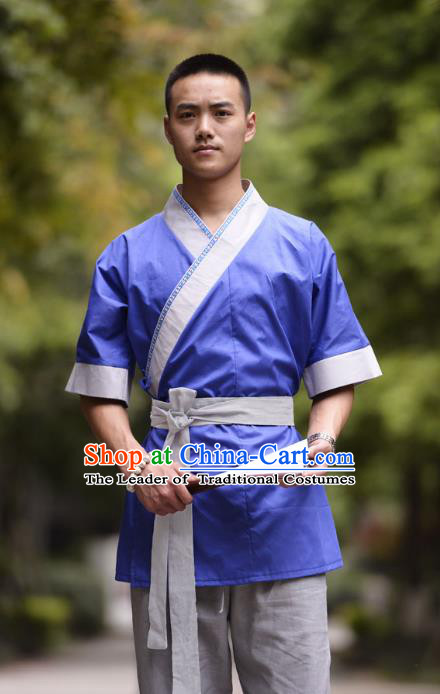 Traditional Chinese Han Dynasty Nobility Childe Hanfu Costume Slant Opening Blue Shirt, China Ancient Martial Arts Upper Garment Clothing for Men