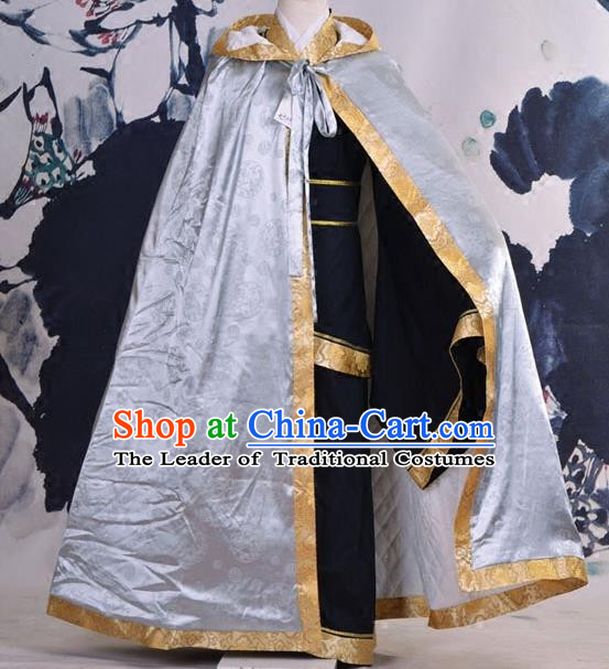 Traditional Ancient Chinese Costume Han Dynasty Prince Cloak, Elegant Hanfu Clothing Chinese Swordsman Cape Clothing for Men