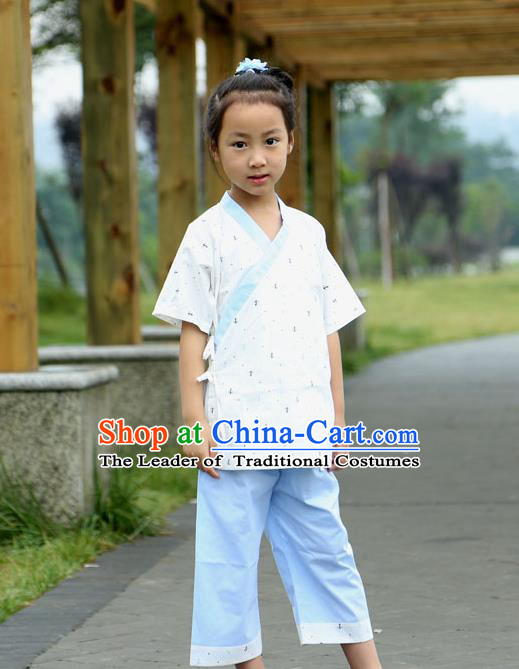 Traditional Chinese Han Dynasty Children Hanfu Kungfu Costume, China Ancient Martial Arts Clothing for Kids