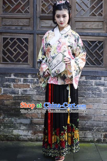 Traditional Ancient Chinese Costume Ming Dynasty Princess Blouse and Dress, Elegant Hanfu Clothing Chinese Silk Skirt Clothing for Women
