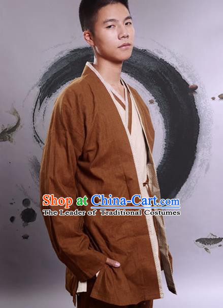 Traditional Chinese Han Dynasty Nobility Childe Hanfu Costume Brown Linen BeiZi, China Ancient Martial Arts Upper Garment Clothing for Men