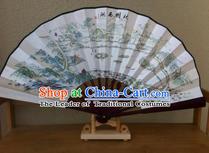 Traditional Chinese Crafts Peking Opera Folding Fan China Sensu Hand Painting West Lake Scenery Chinese Silk Fan for Women
