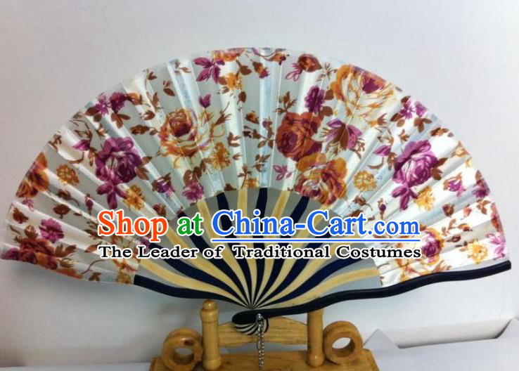 Traditional Chinese Crafts Peking Opera Folding Fan China Sensu Hand Painting Purple Flowers Chinese Silk Dance Fan for Women