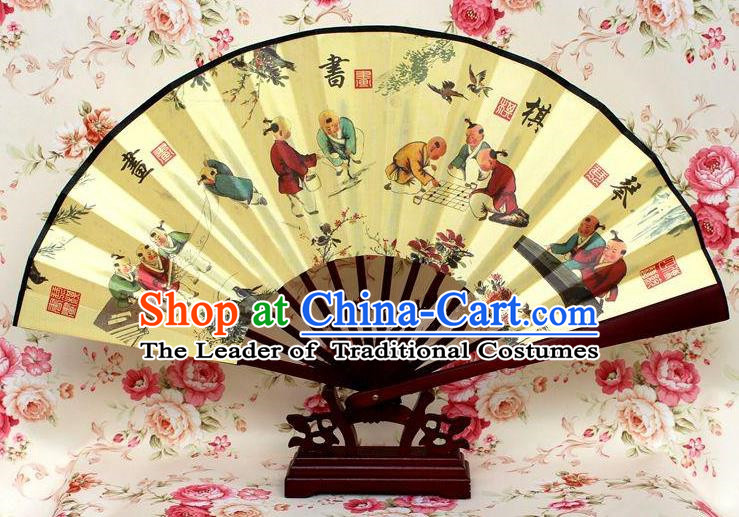 Traditional Chinese Crafts Peking Opera Folding Fan China Sensu Handmade Chinese Ink Painting Poetry and Painting Silk Fan for Men