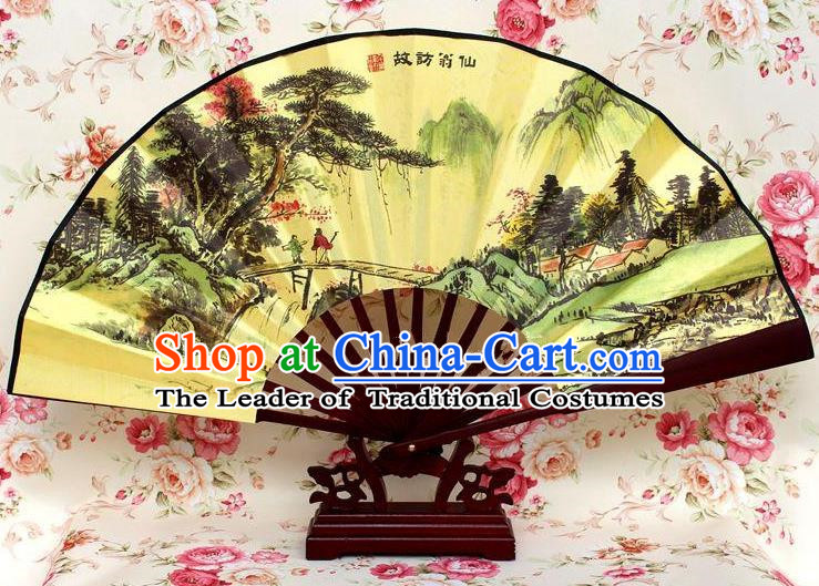 Traditional Chinese Crafts Peking Opera Folding Fan China Sensu Handmade Chinese Ink Painting Pineburst Silk Fan for Men