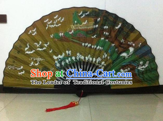 Traditional Chinese Crafts Peking Opera Folding Fan China Sensu Handmade Chinese Painting Crane Large Silk Fan for Men