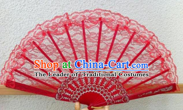 Traditional Chinese Crafts Peking Opera Folding Fan China Sensu Handmade Chinese Dance Red Lace Fan for Women