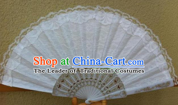 Traditional Chinese Crafts Peking Opera Folding Fan China Sensu Handmade Chinese Dance Double White Lace Fan for Women