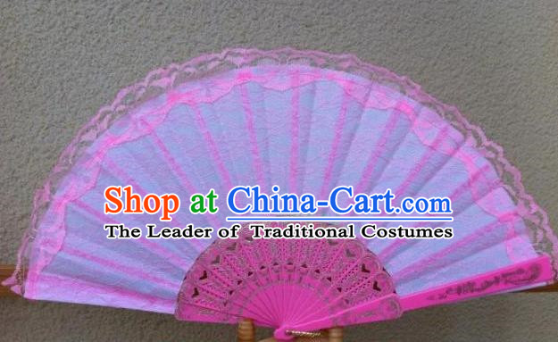 Traditional Chinese Crafts Peking Opera Folding Fan China Sensu Handmade Chinese Dance Double Pink Lace Fan for Women