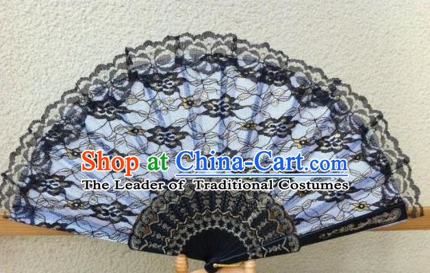 Traditional Chinese Crafts Peking Opera Folding Fan China Sensu Handmade Chinese Dance Double Black Lace Fan for Women