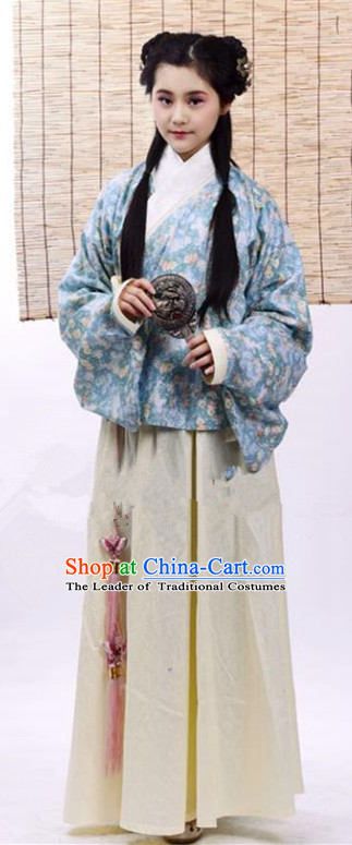 Traditional Chinese Ming Dynasty Young Lady Costume Blue Blouse and Skirt, China Ancient Hanfu Dress Princess Embroidery Clothing for Women