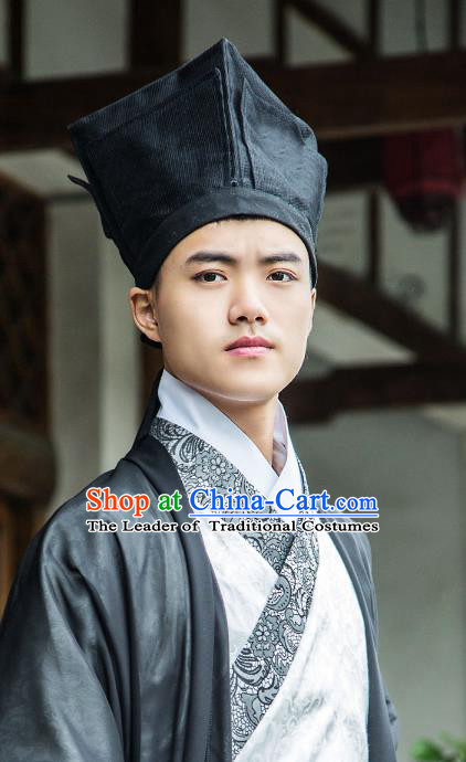 Traditional Handmade Chinese Ancient Scholar Hat, China Hanfu Booksir Kerchief Headwear for Men
