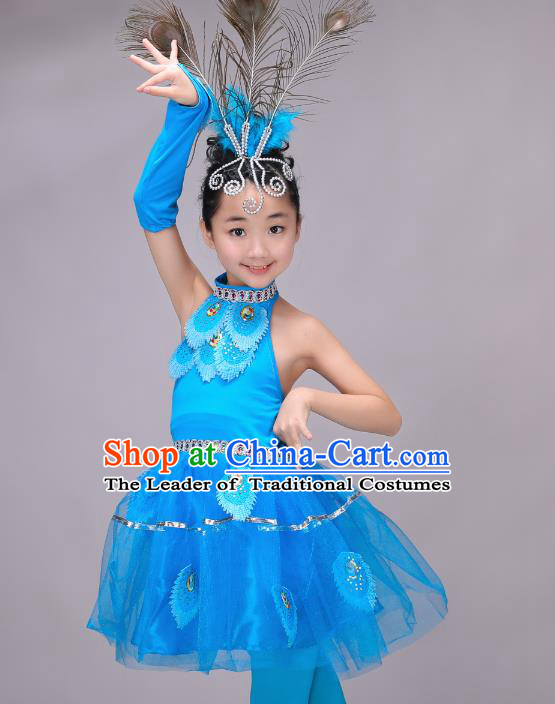 Chinese Dai Nationality Modern Dance Costume, Children Opening Classic Chorus Singing Group Dress Peacock Dance Dress for Girls Kids