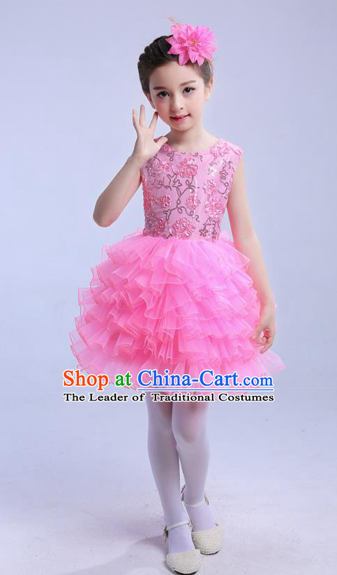 Top Grade Chinese Compere Professional Performance Catwalks Costume, Children Princess Bubble Pink Full Dress Modern Dance Dress for Girls Kids