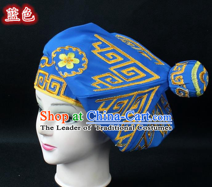 Traditional China Beijing Opera Takefu Hat, Ancient Chinese Peking Opera Martial Arts Men Headwear Embroidery Blue Kerchief