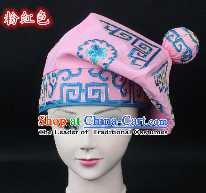 Traditional China Beijing Opera Takefu Hat, Ancient Chinese Peking Opera Martial Arts Men Headwear Embroidery Pink Kerchief