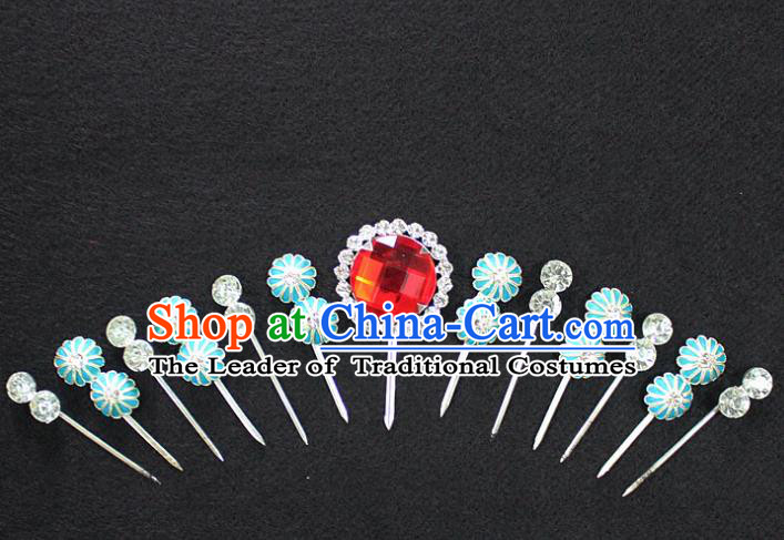 Traditional China Beijing Opera Young Lady Hair Accessories Complete Set, Ancient Chinese Peking Opera Hua Tan Headwear Diva Red Crystal Hairpins