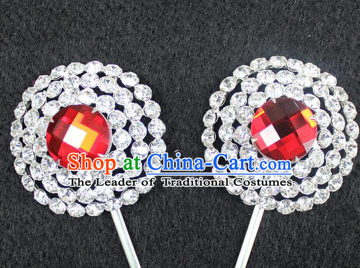 Traditional China Beijing Opera Young Lady Hair Accessories, Ancient Chinese Peking Opera Hua Tan Headwear Diva Red Crystal Hairpins