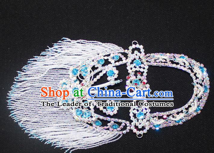 Traditional China Beijing Opera Young Lady Hair Accessories Head-ornaments, Ancient Chinese Peking Opera Hua Tan Headwear Diva Blue Crystal Headpiece