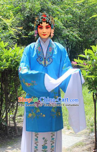 Traditional China Beijing Opera Young Lady Hua Tan Costume Embroidered Water Sleeve Blue Cape, Ancient Chinese Peking Opera Female Diva Embroidery Dress Clothing