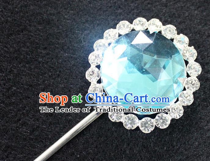 Traditional China Beijing Opera Young Lady Hair Accessories Blue Crystal Hairpin, Ancient Chinese Peking Opera Hua Tan Headwear Diva Hairpins