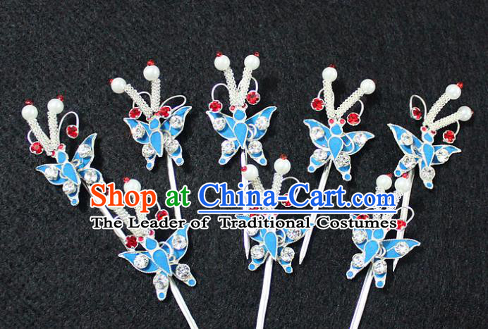 Traditional China Beijing Opera Young Lady Hair Accessories Butterfly Hairpin, Ancient Chinese Peking Opera Hua Tan Headwear Diva Hairpins