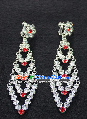 Traditional China Beijing Opera Young Lady Hair Accessories Tassel Earrings, Ancient Chinese Peking Opera Hua Tan Diva Eardrop
