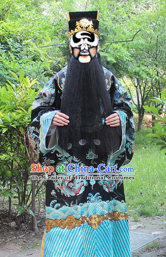 Traditional China Beijing Opera Costume Prime Minister Bao Zheng Embroidered Robe and Headwear Complete Set, Ancient Chinese Peking Opera Embroidery Dragon Gwanbok Clothing