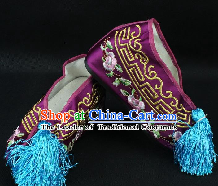 Traditional China Beijing Opera Hua Tan Diva Embroidered Shoes, Ancient Chinese Peking Opera Young Lady Princess Purple Blood Stained Shoes