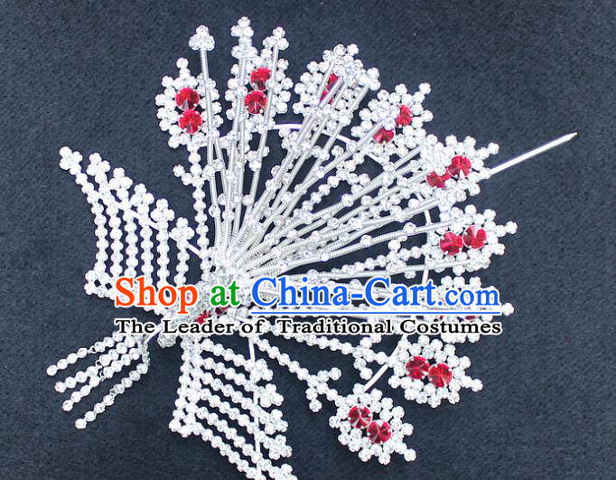 Traditional China Beijing Opera Young Lady Hair Accessories Phoenix Tassel Step Shake, Ancient Chinese Peking Opera Hua Tan Headwear Diva Hairpins