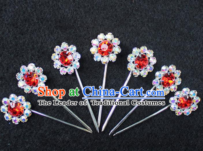 Traditional China Beijing Opera Young Lady Hair Accessories 7 Hairpins, Ancient Chinese Peking Opera Hua Tan Headwear Diva Hairpins