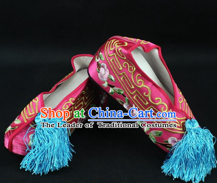 Traditional China Beijing Opera Hua Tan Diva Embroidered Shoes, Ancient Chinese Peking Opera Young Lady Princess Peach Pink Blood Stained Shoes