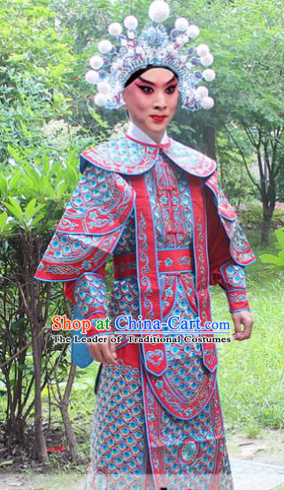 Traditional China Beijing Opera Costume Yang Warrior Robe and Headwear Complete Set, Ancient Chinese Peking Opera Soldier Red Gwanbok Clothing