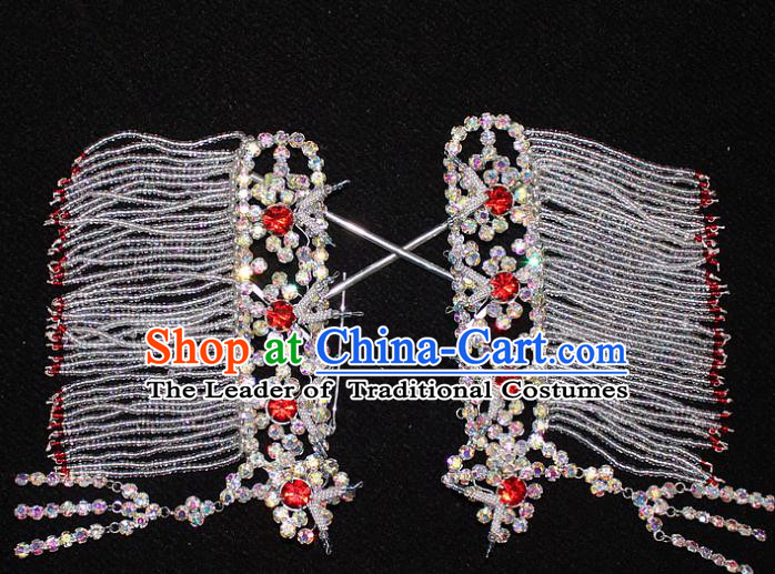 Traditional China Beijing Opera Young Lady Hair Accessories Temples Tassel Step Shake, Ancient Chinese Peking Opera Hua Tan Headwear Diva Red Crystal Empress Hairpins
