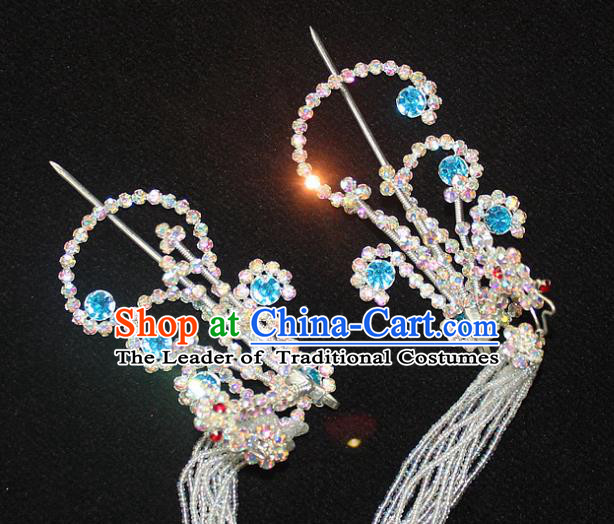Traditional China Beijing Opera Young Lady Hair Accessories Tassel Step Shake, Ancient Chinese Peking Opera Hua Tan Headwear Diva Crystal Empress Phoenix Hairpins