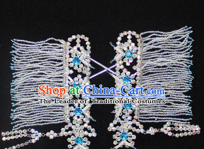 Traditional China Beijing Opera Young Lady Hair Accessories Temples Tassel Step Shake, Ancient Chinese Peking Opera Hua Tan Headwear Diva Blue Crystal Empress Hairpins