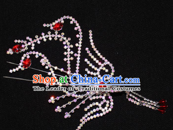 Traditional China Beijing Opera Young Lady Hair Accessories Tassel Step Shake, Ancient Chinese Peking Opera Hua Tan Headwear Diva Colorful Crystal Empress Phoenix Hairpins