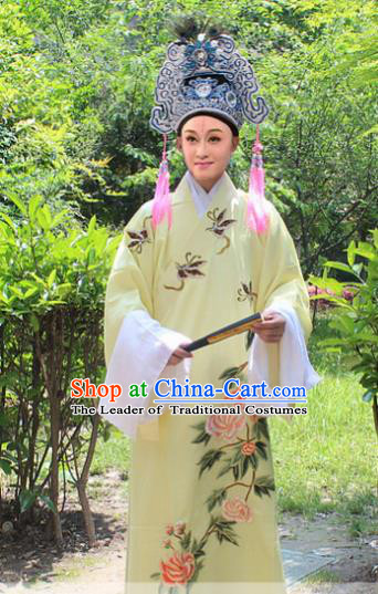 Traditional China Beijing Opera Young Men Costume and Hat, Ancient Chinese Peking Opera Niche Embroidery Yellow Clothing