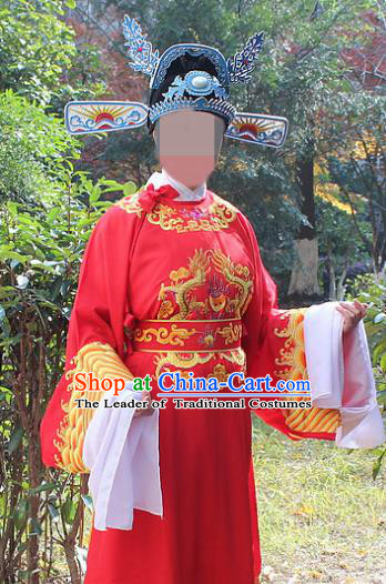 Traditional China Beijing Opera Niche Costume Lang Scholar Embroidered Robe and Headwear, Ancient Chinese Peking Opera Embroidery Gwanbok Clothing