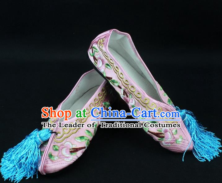 Traditional China Beijing Opera Hua Tan Embroidered Pink Shoes, Ancient Chinese Peking Opera Young Lady Diva Princess Blood Stained Shoes