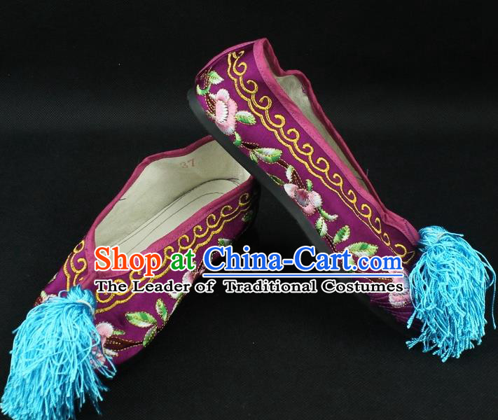 Traditional China Beijing Opera Hua Tan Embroidered Purple Shoes, Ancient Chinese Peking Opera Young Lady Diva Princess Blood Stained Shoes